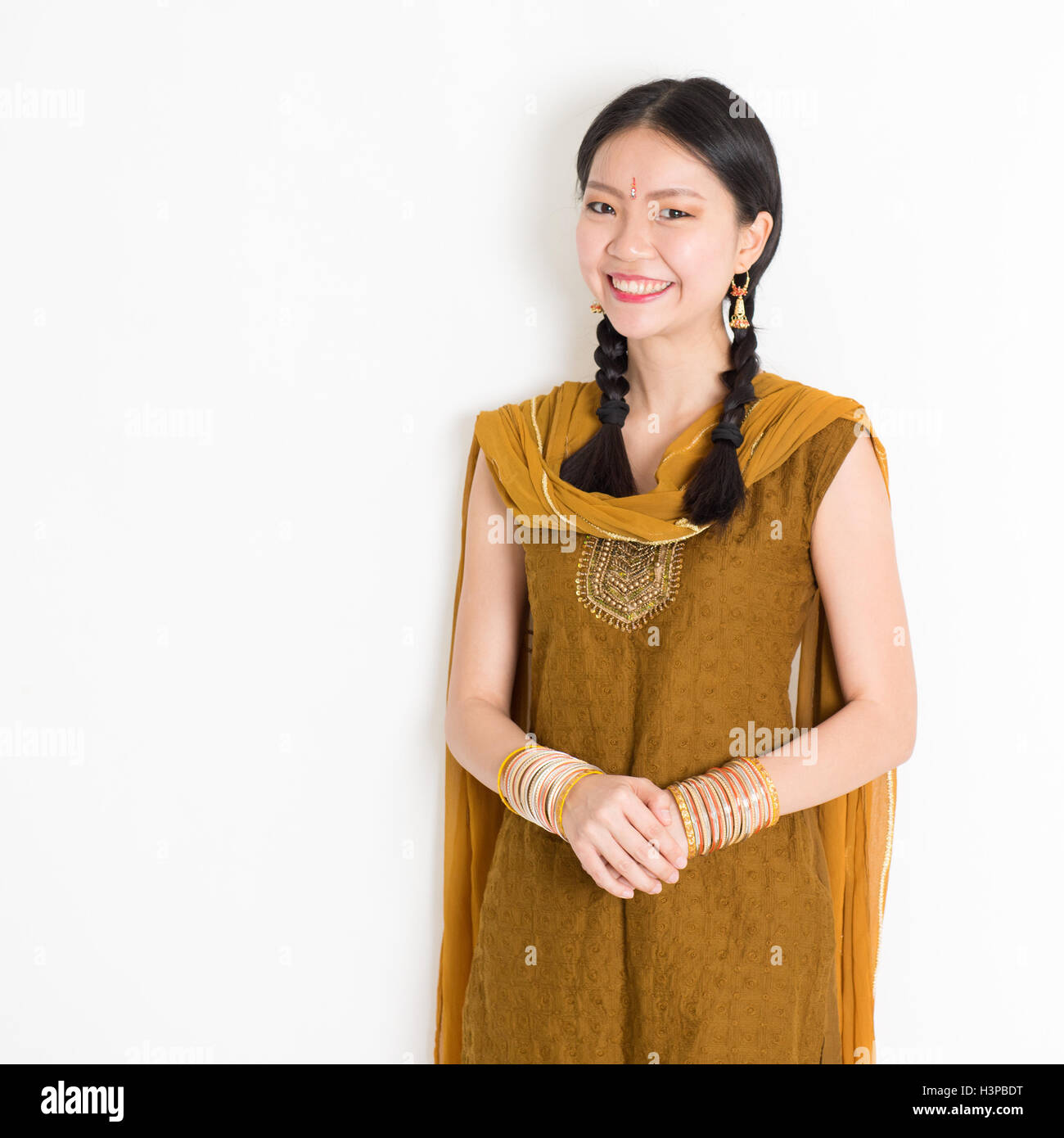 Portrait of attractive mixed race Indian Chinese woman in