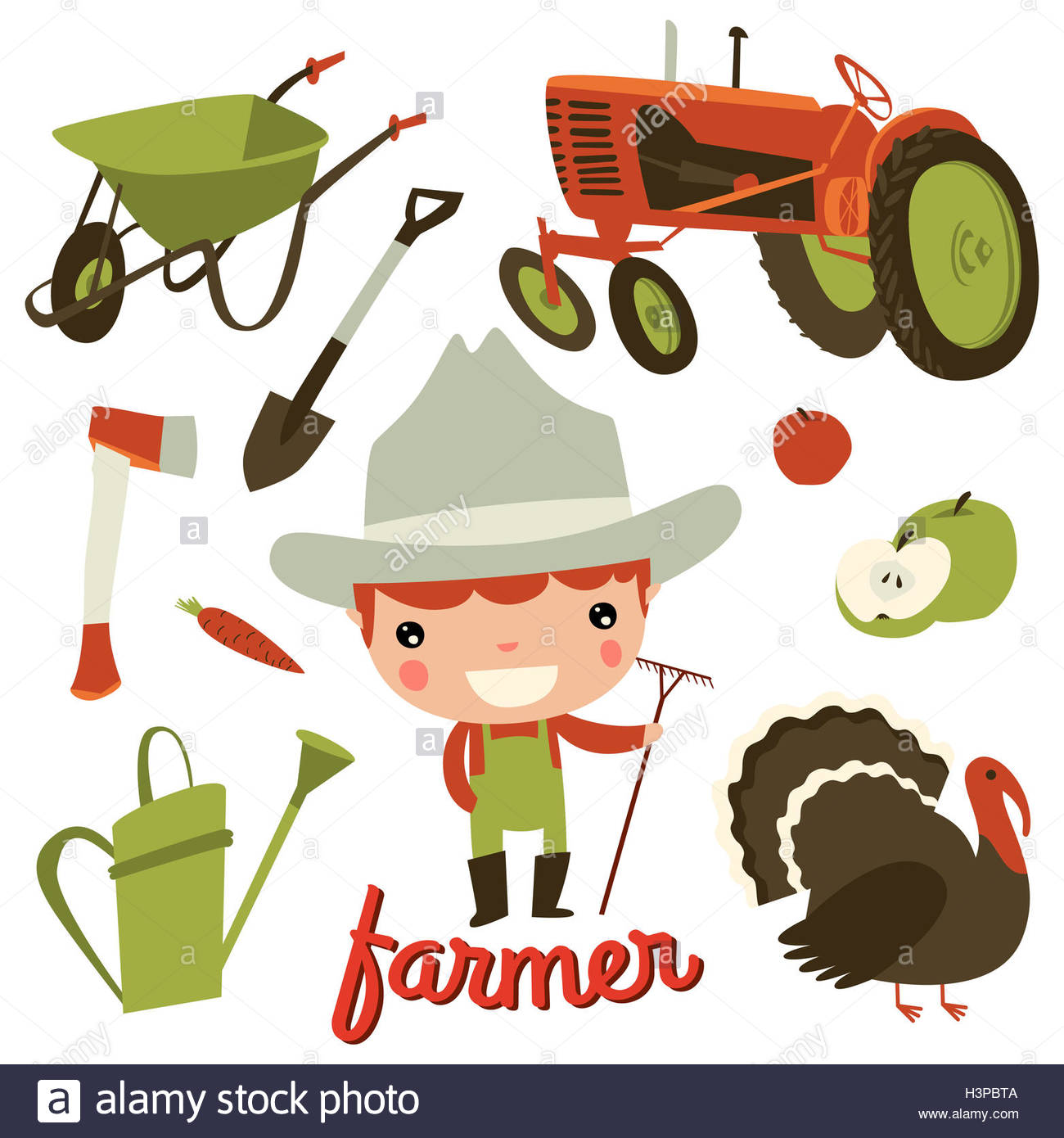 farmer kid profession. cute character set. Stock Photo