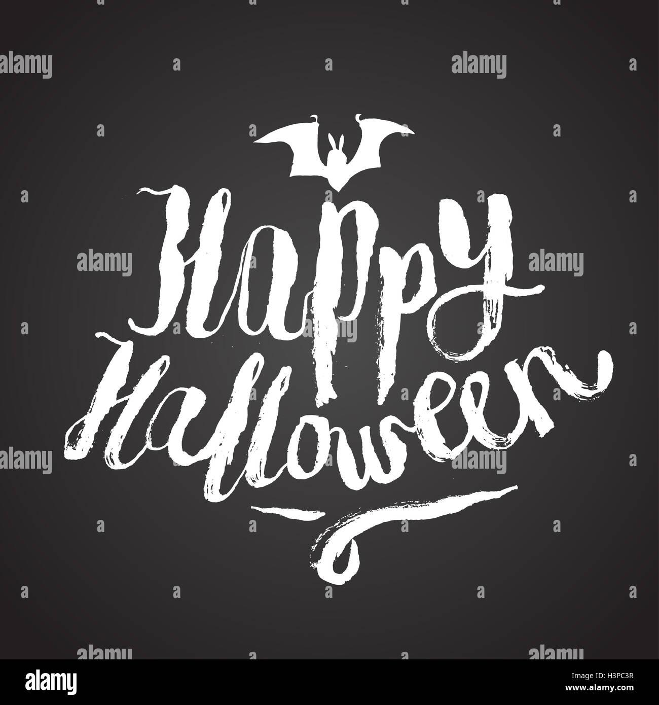 happy halloween scary calligraphy. chalk on board. vector stock