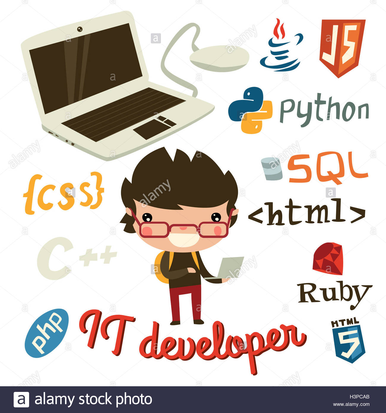 Programmer Cartoon Illustration Stock Photos Programmer Cartoon