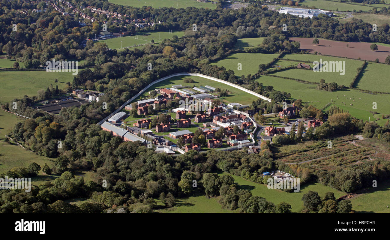 aerial view of HMP Styal Prison near Wilmslow, Cheshire, UK - Stock Image