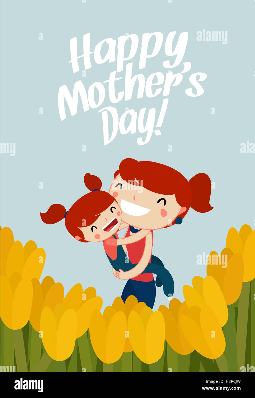 mother and daughter hugging mothers day card