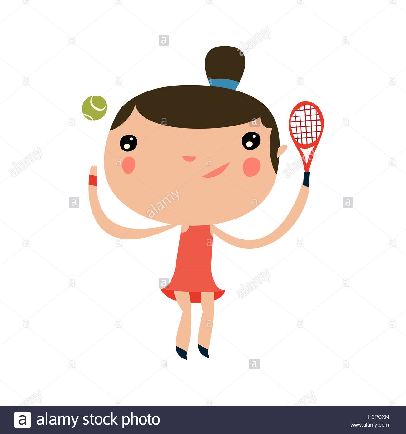 tennis player girl. cute sports character. - Stock Image