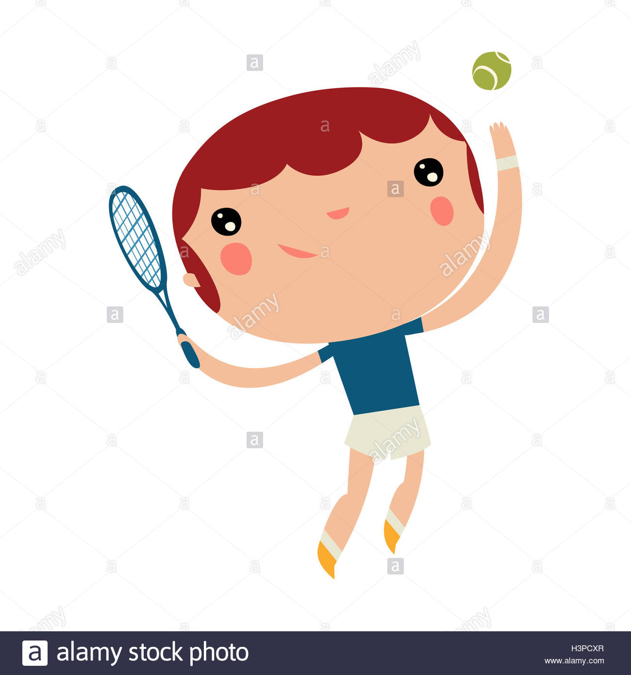 tennis player boy. kids playing sports. cute vector character. - Stock Image