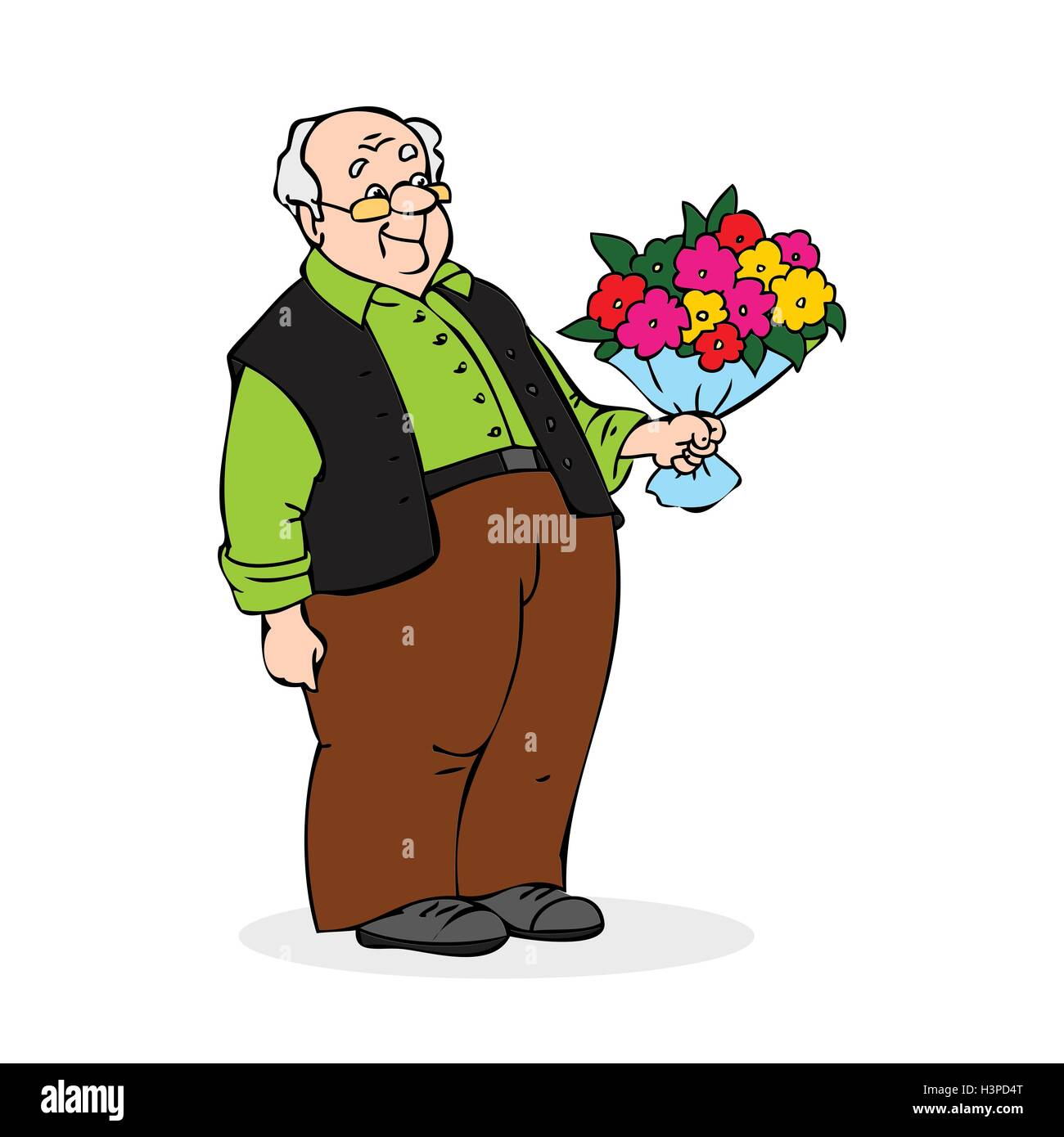 Old man with a bouquet of flowers smiling elderly man with glasses old man with a bouquet of flowers smiling elderly man with glasses colorful cartoon vector illustration on white background izmirmasajfo