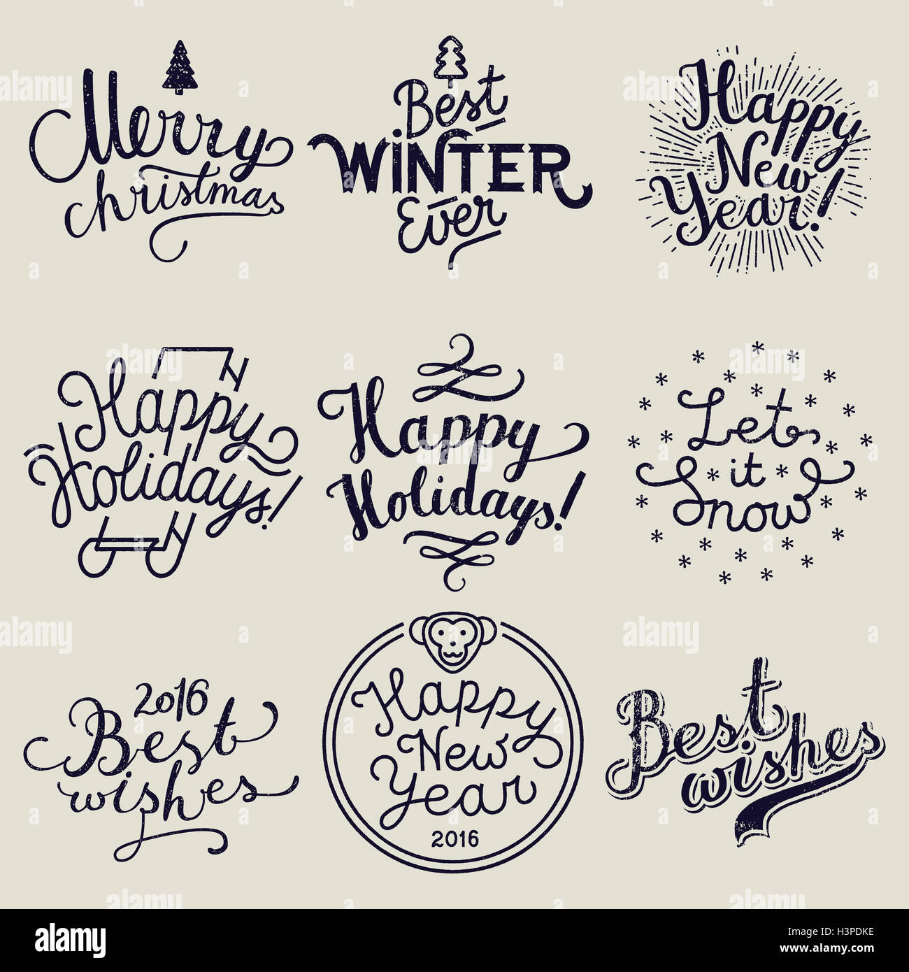 christmas calligraphy label set. merry christmas. best winter ever ...