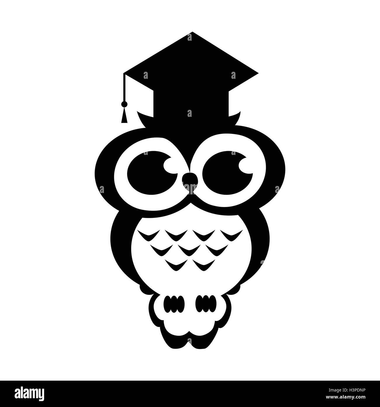 Vector owl academic on the isolated background. Cartoon illustration. Black and white colors - Stock Vector