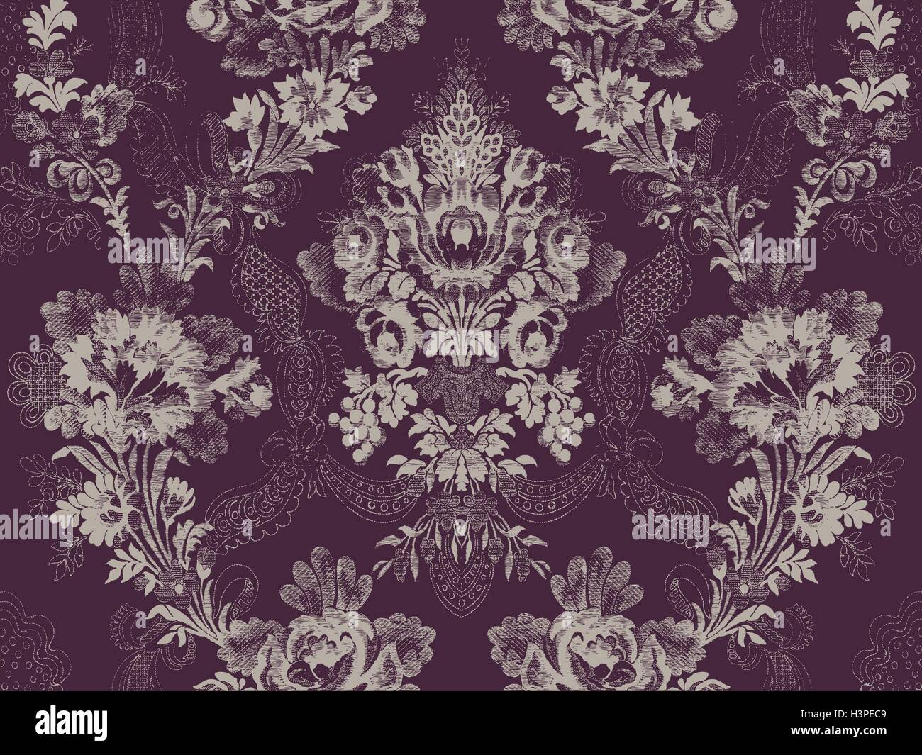 Victorian floral pattern, abstract flower rose fashion seamless, unusual branch ribbon wallpaper vintage print, - Stock Image
