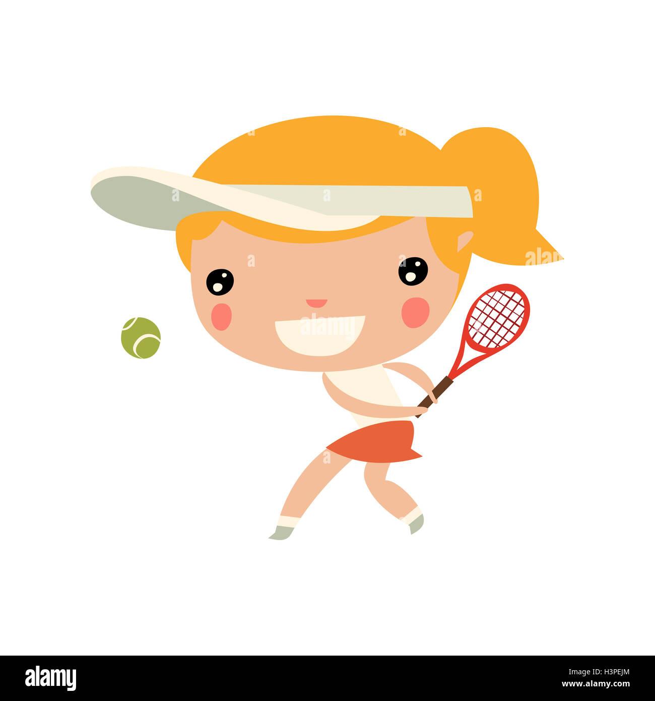 girl playing tennis. cute cartoon sports character. - Stock Image
