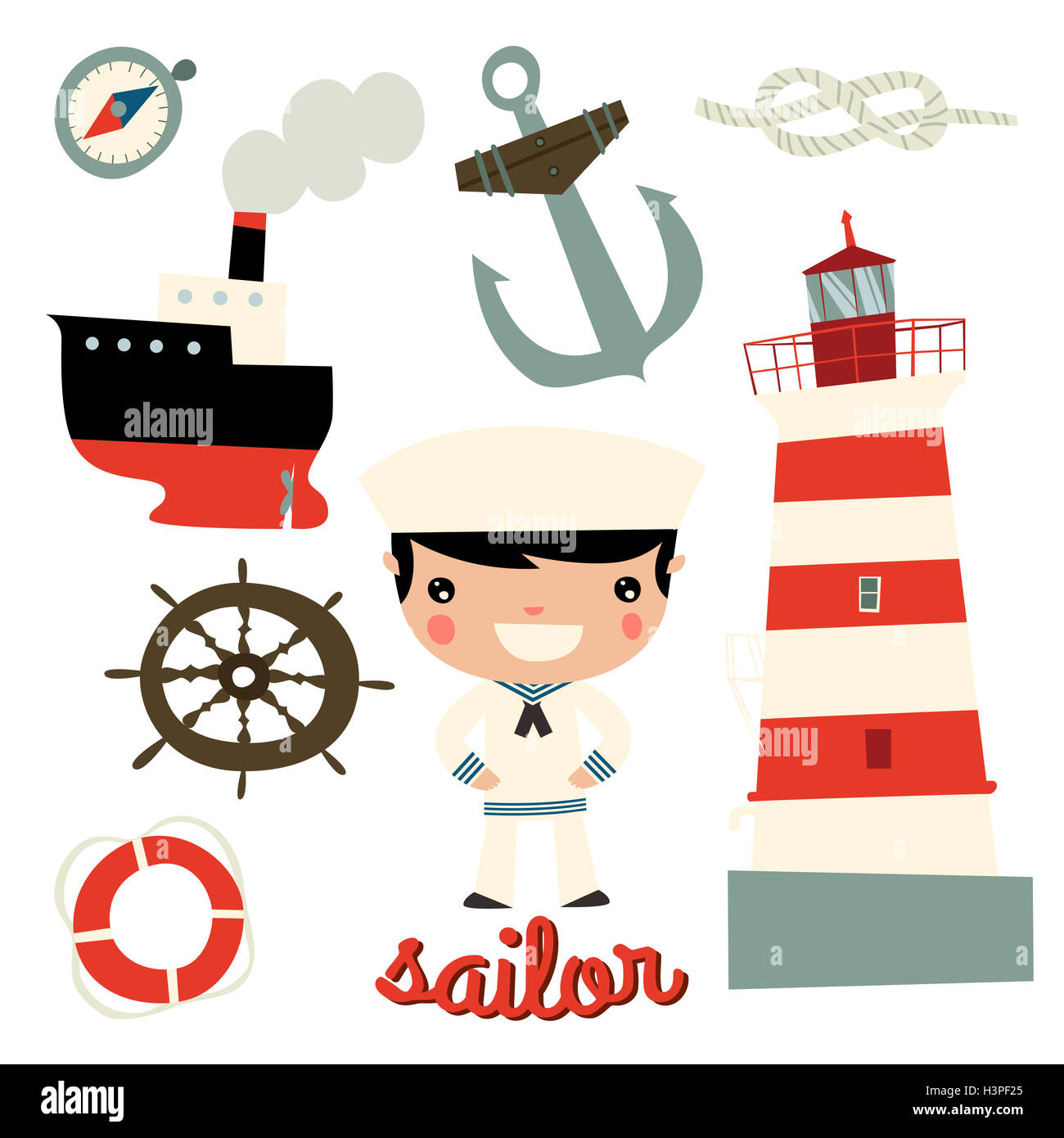 sailor boy cute character. anchor, wheel, boat, ship, rope, lighthouse Stock Photo