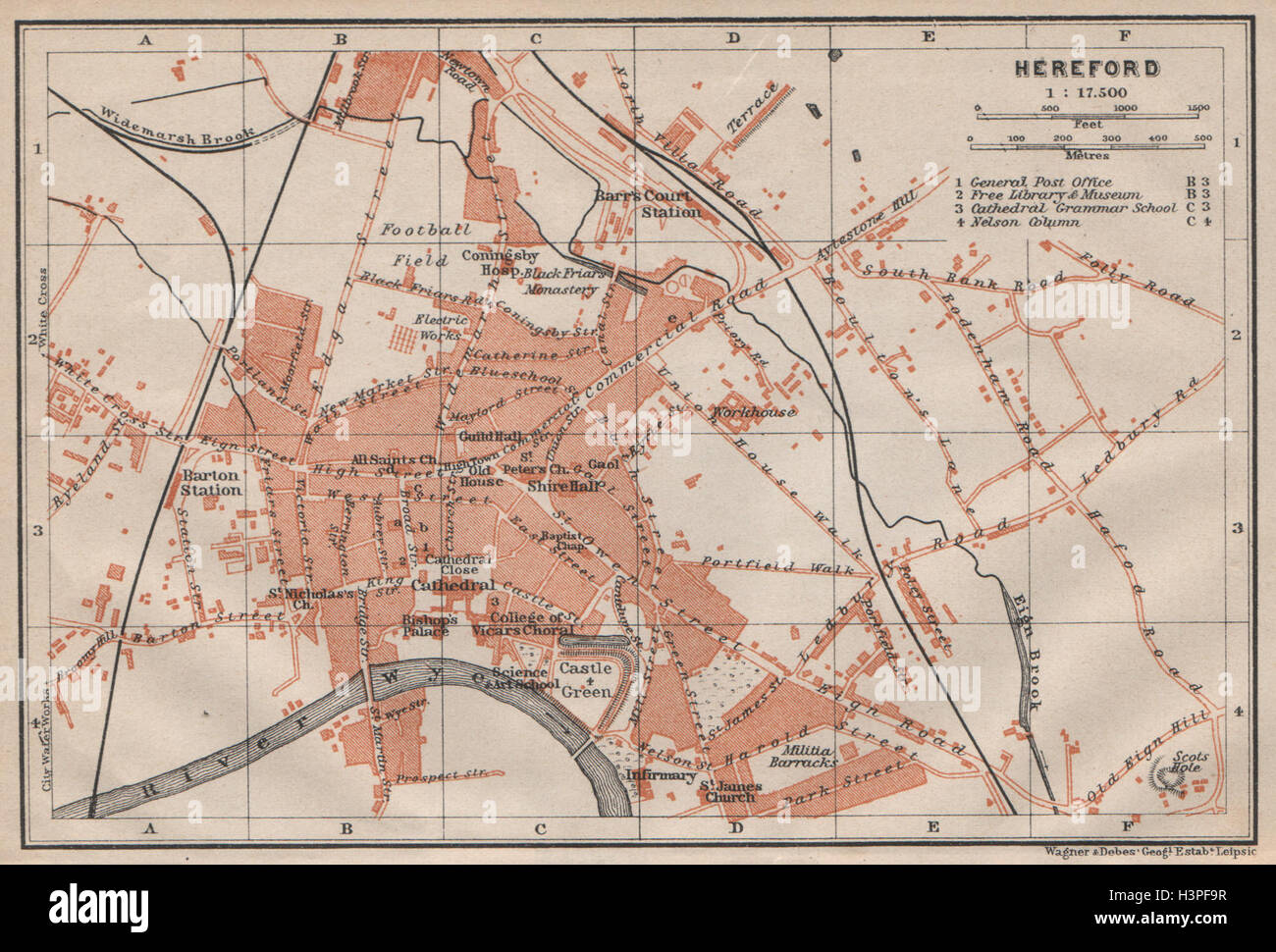 Baedeker 1910 Map Herefordshire Broomy Hill Hereford Antique Town City Plan