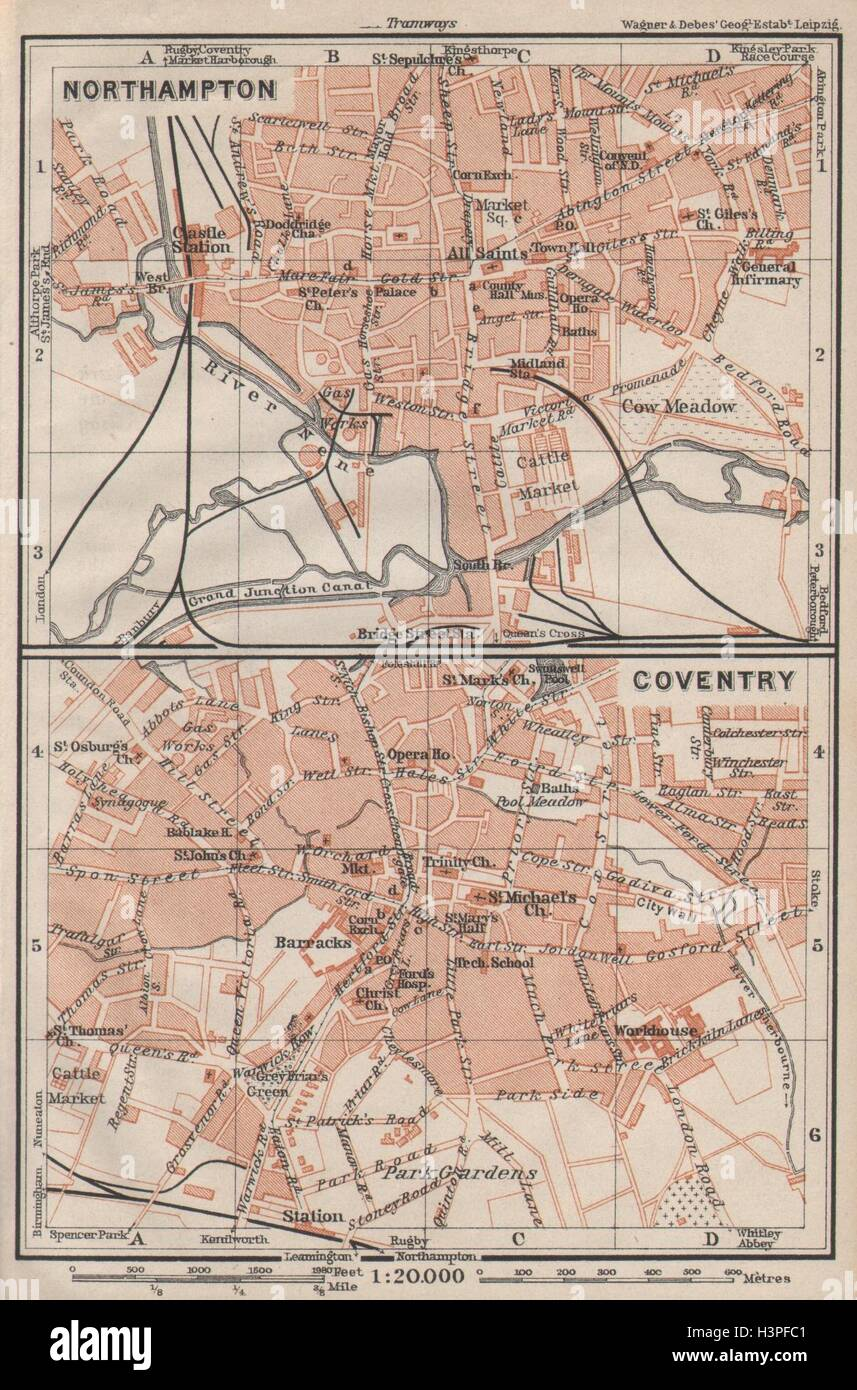 Northampton Coventry Town City Plans Pre World War 2 Midlands