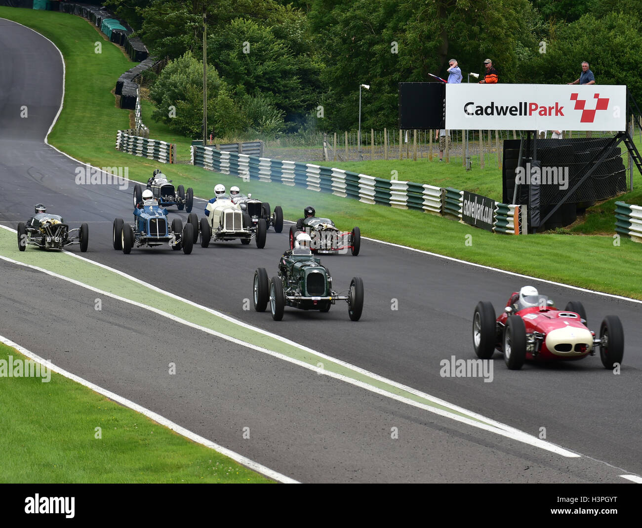 The start, Front engined pre-1961 racing cars, VSCC, Shuttleworth Trophy, Nuffield Trophy, Cadwell Park 24th July - Stock Image