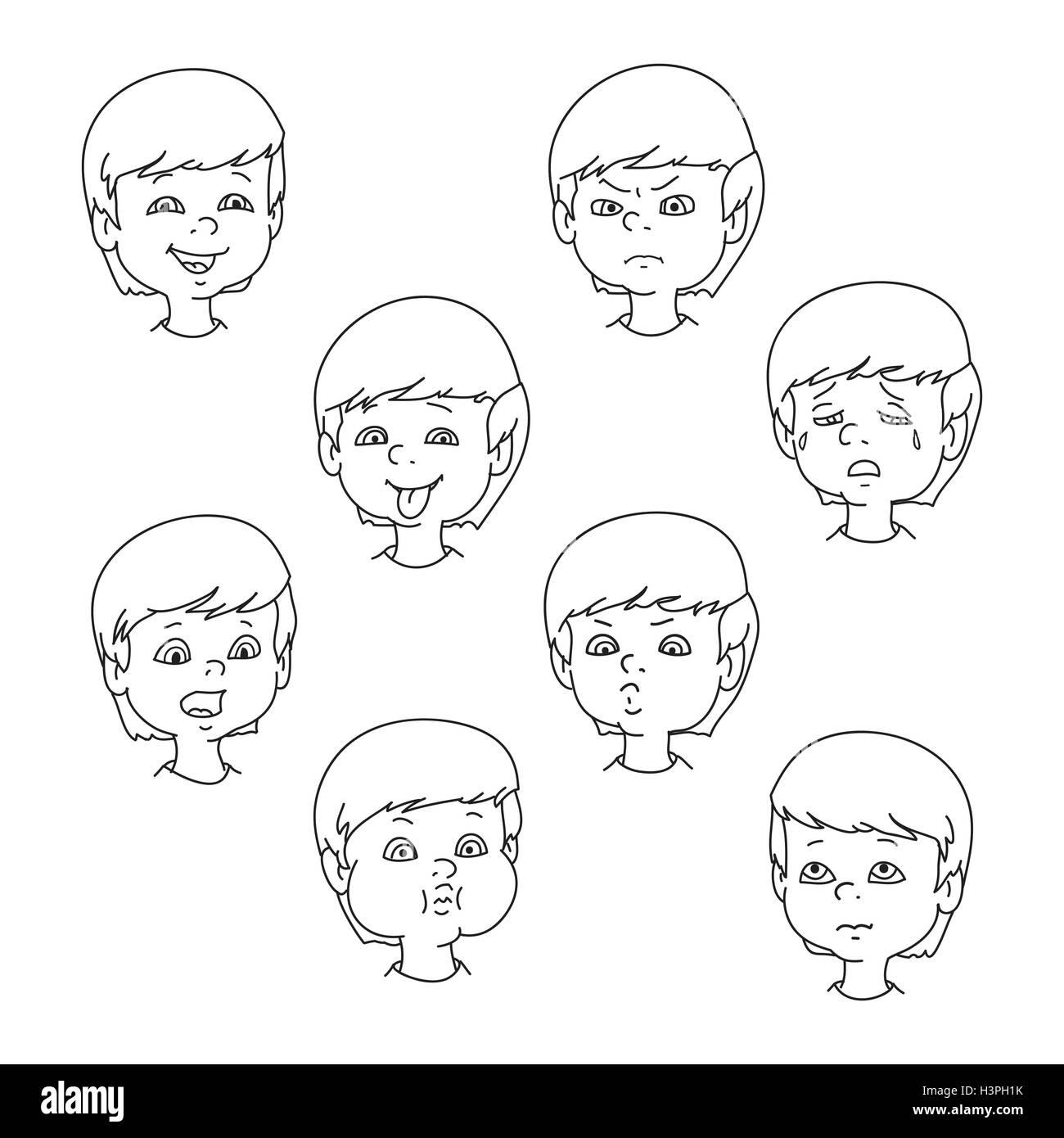 Child Face Emotion Gestures Black And White Vector Illustration