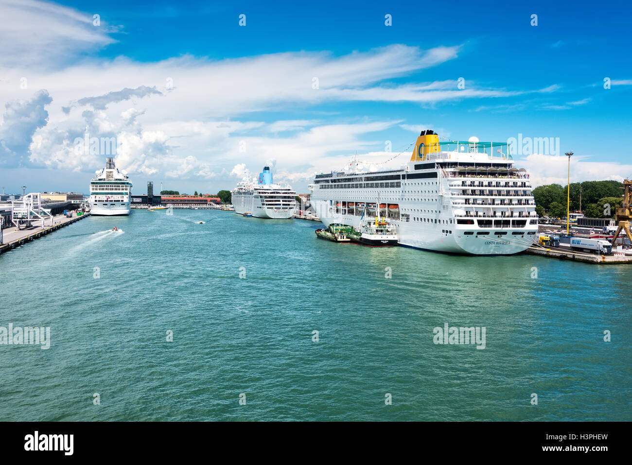 Venice cruise port is one of the busiest in the Mediterranean - Stock Image