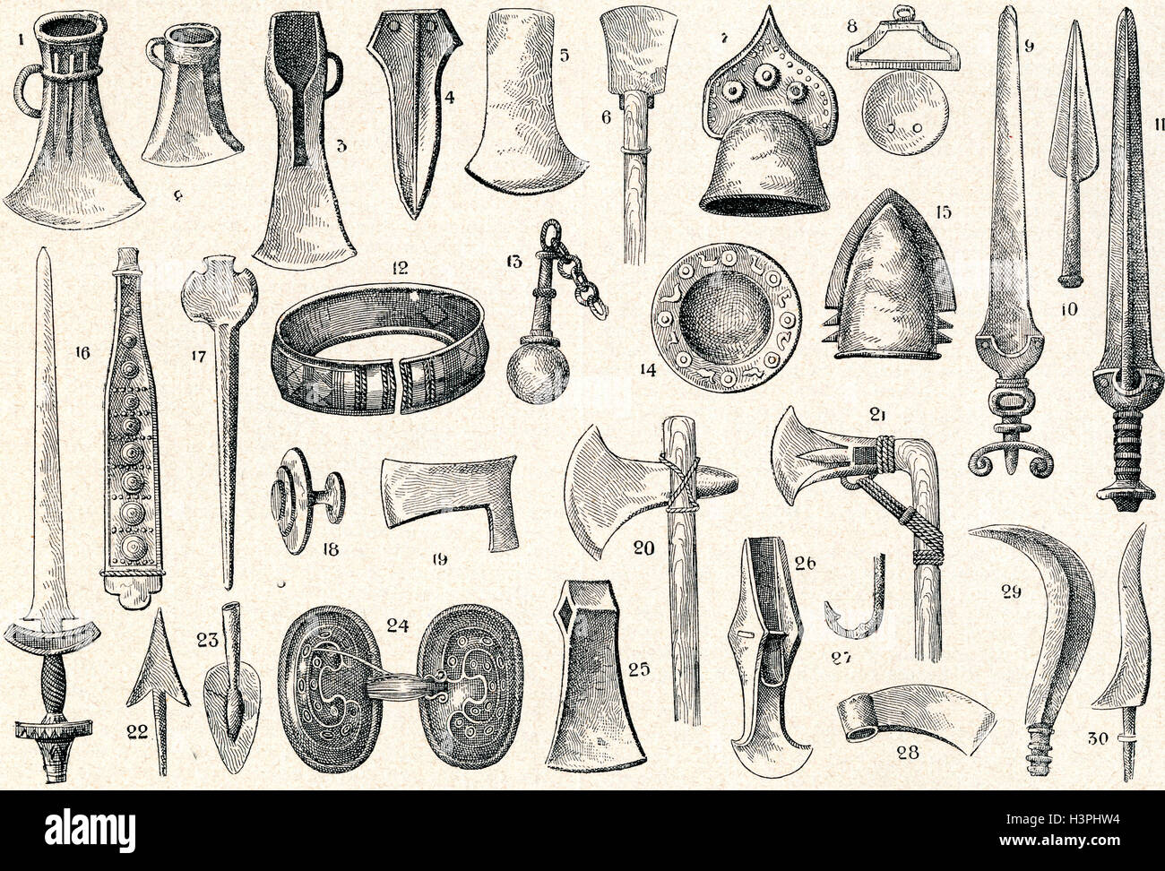 Bronze Age weapons, tools and relics. - Stock Image