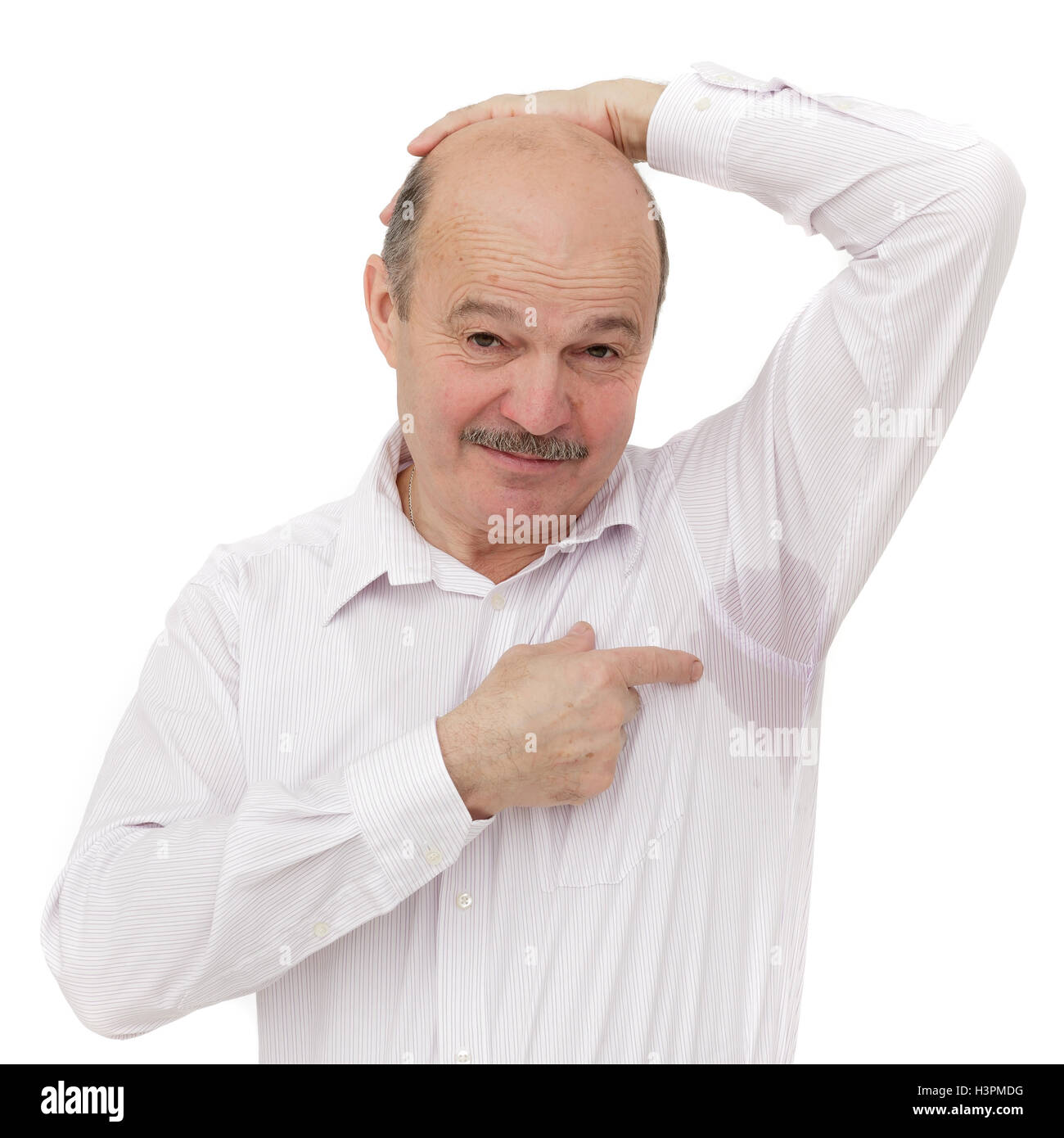 Elderly people suffering from the heat and stuffiness - Stock Image