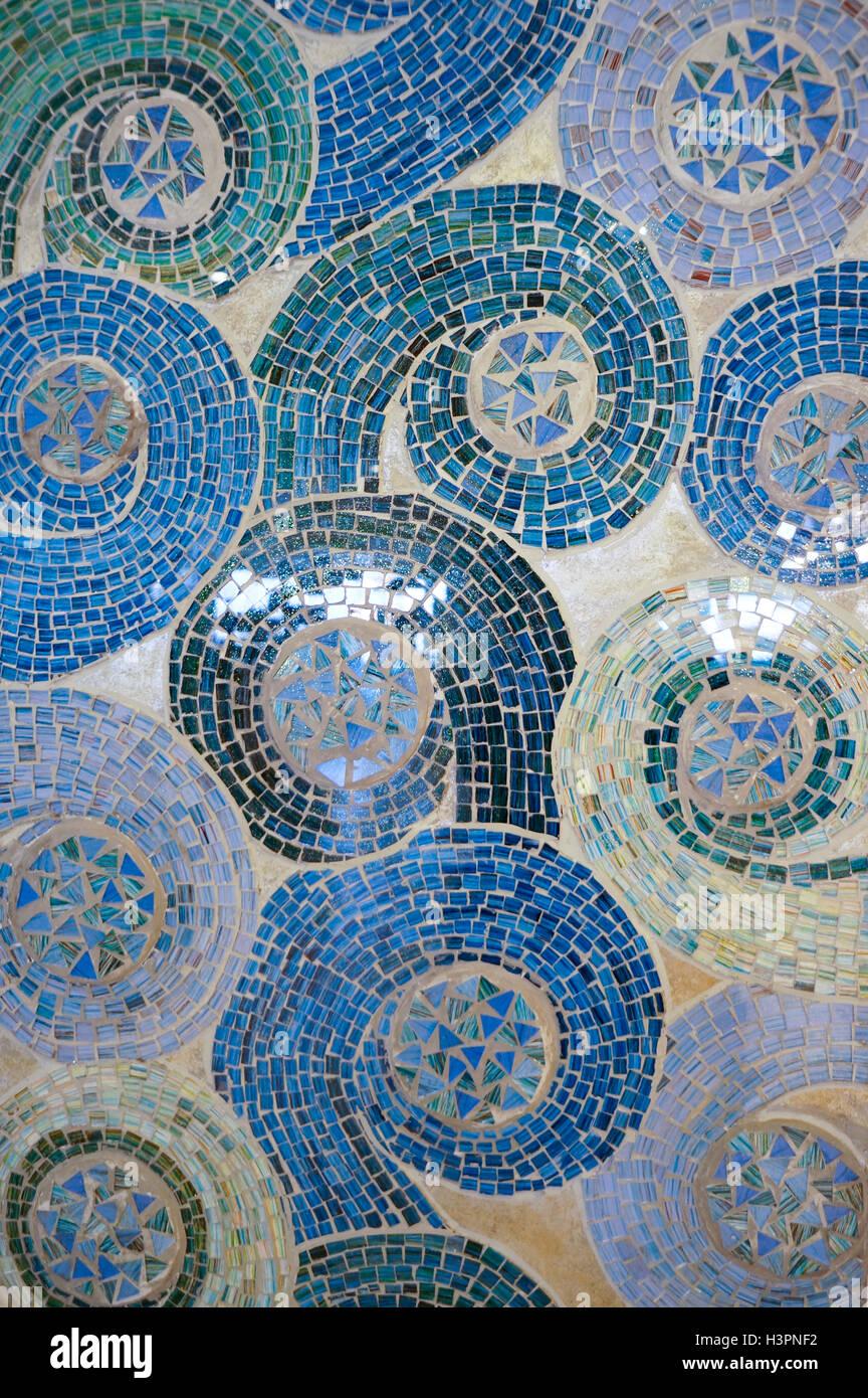 mosaic glass tiles swirls - Stock Image