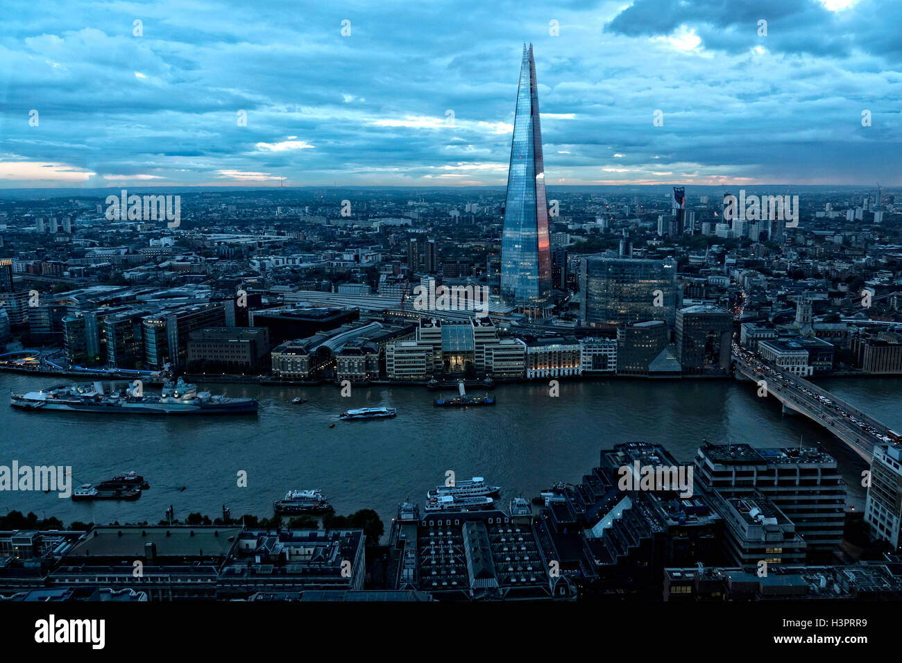View from the Sky Garden Bar on to top og 20 Fenchurch St City of London UK - Stock Image