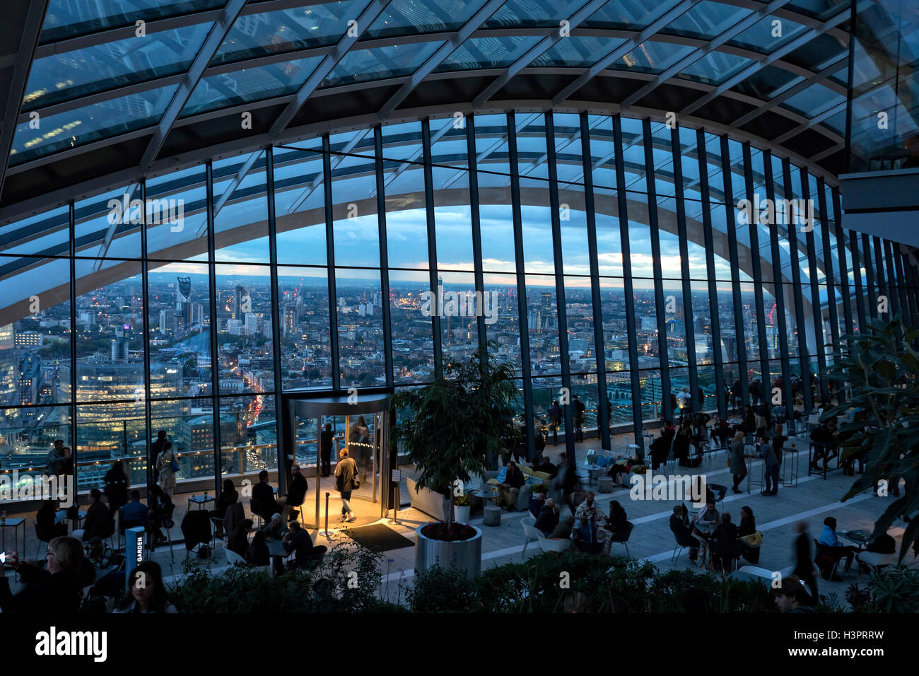 Sky Garden bar on the top of 20 Fenchurch street City of London UK - Stock Image