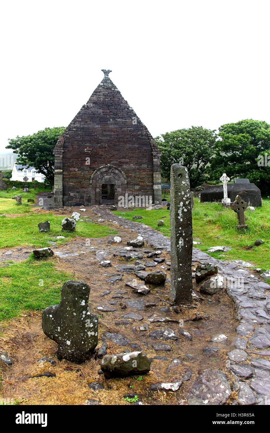 Ogham Stone in old stone church, Ireland - Stock Image