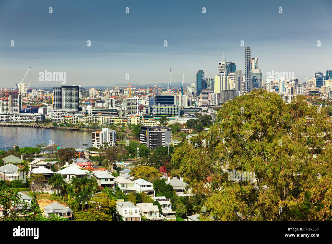 BRISBANE, AUS - AUG 10 2016: Brisbane Skyline as seen from north side. It is Australias third largest city, capital - Stock Image