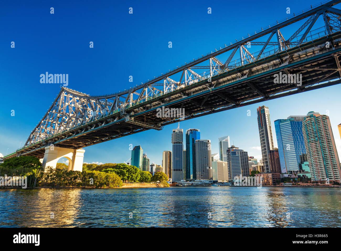 BRISBANE, AUS - AUG 10 2016: Brisbane Skyline with Story Bridge and the river. It is Australias third largest city, - Stock Image