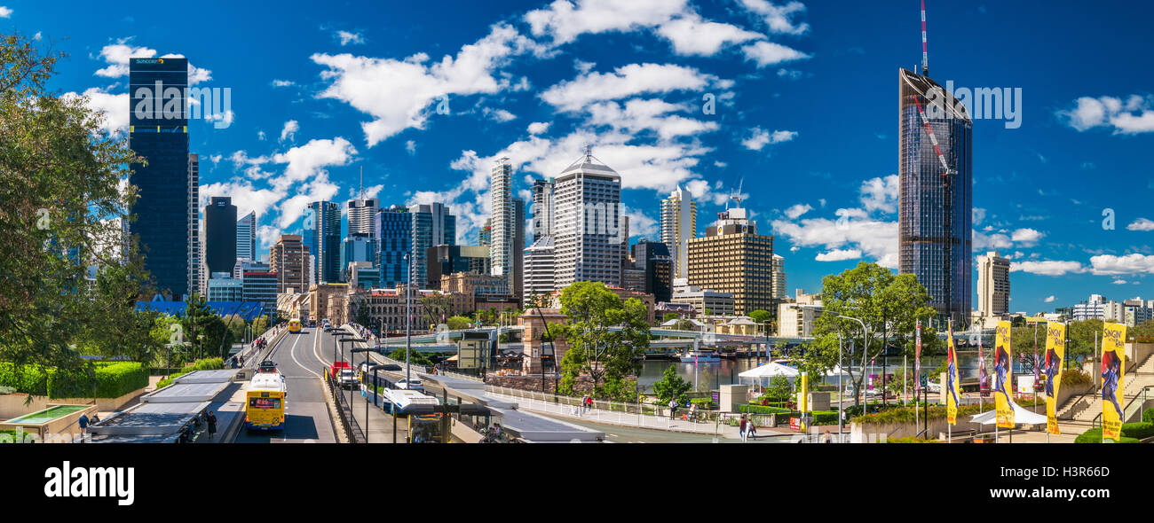 BRISBANE, AUS - AUG 26 2016: Panoramic view of Brisbane Skyline as seen from South Bank. - Stock Image