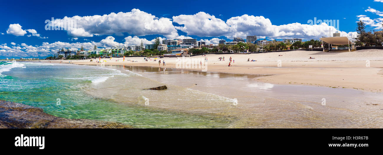 CALOUNDRA, AUS - AUG 13 2016: Hot sunny day at Kings Beach Calundra, Queensland, Australia Stock Photo