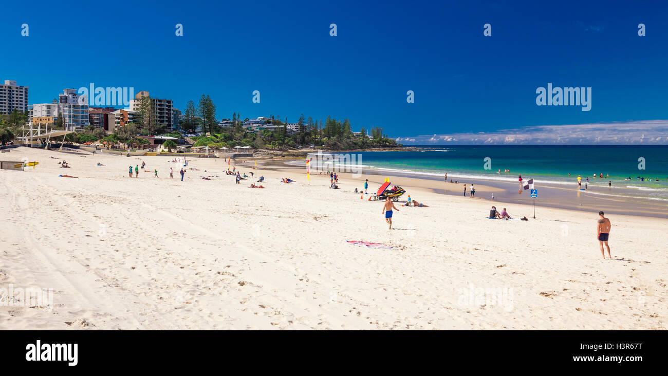 CALOUNDRA, AUS - AUG 13 2016: Hot sunny day at Kings Beach Calundra, Queensland, Australia Stock Photo