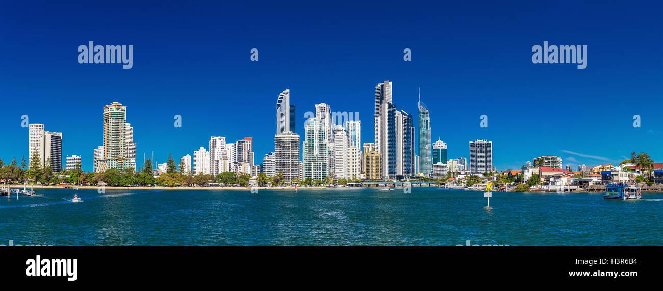 SURFERS PARADISE, AUS - SEPT 05 2016 Panoramic skyline of Surfers Paradise, Gold Coast. It one of Australia's - Stock Image