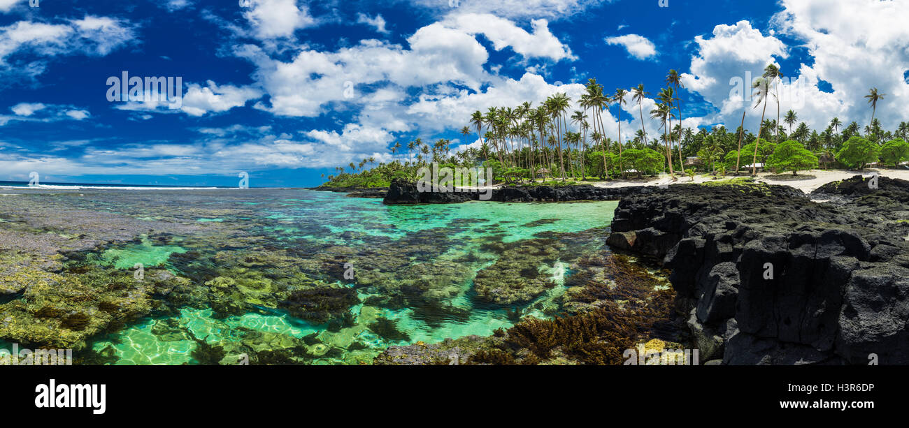 Coral reef perfect for snorkeling on south side of Upolu, Samoa Islands. - Stock Image