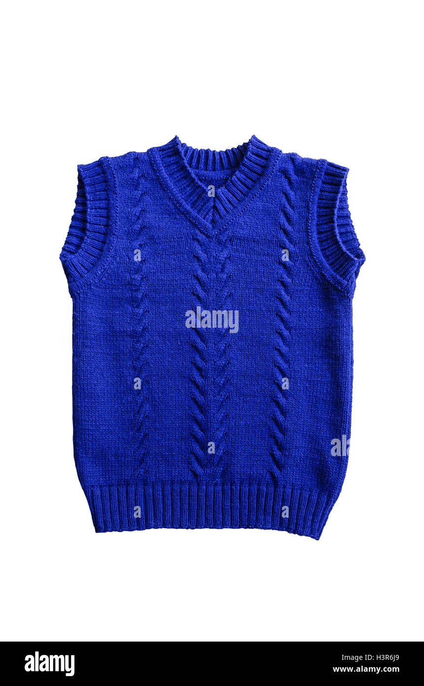 Blue wool blend children's vest with textured pattern - Stock Image