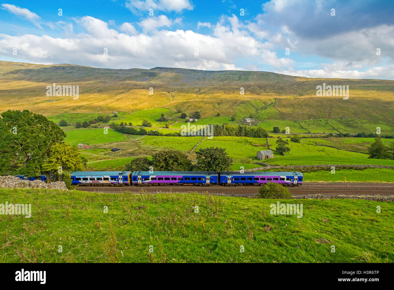 A Northern train on the Settle to Carlisle line in Mallerstang, in The Yorkshire Dales - Stock Image