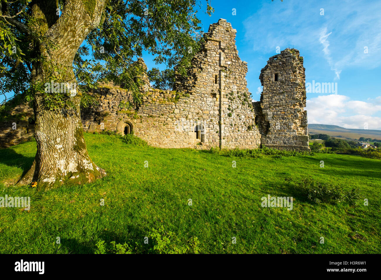 Pendragon Castle is a ruin located in Mallerstang dale, Cumbria, close to the hamlet of Outhgill - Stock Image