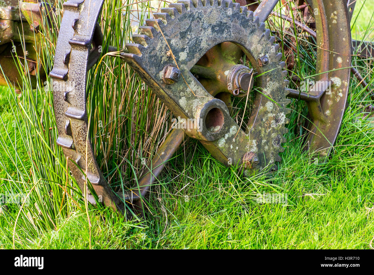 Obsolete farm machinery rusting on a hillside - Stock Image
