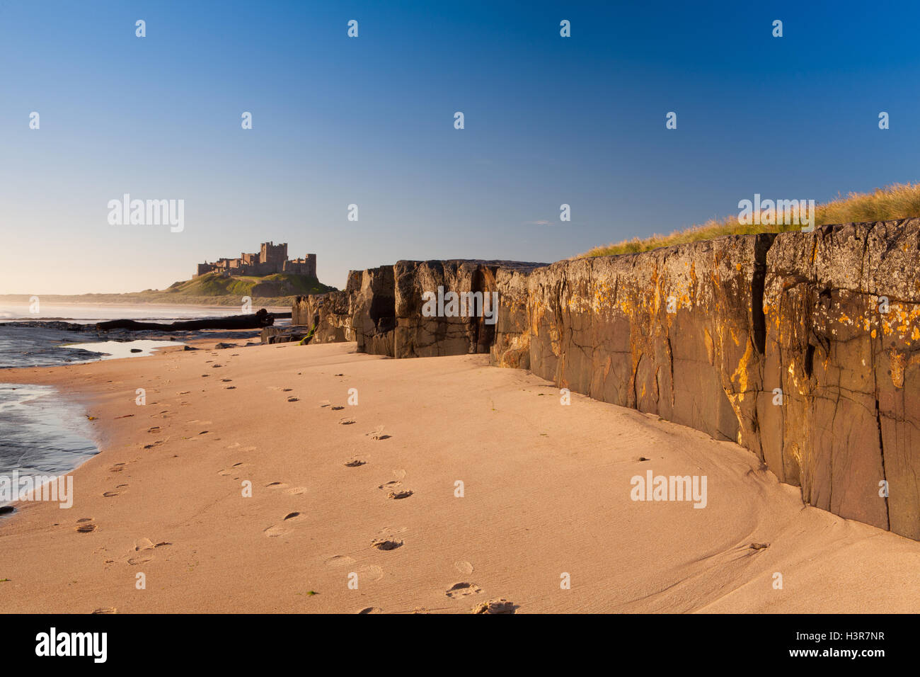 Bamburgh Castle with Rocks. Bamburgh Castle viewed from the beach with rock in the foreground - Stock Image