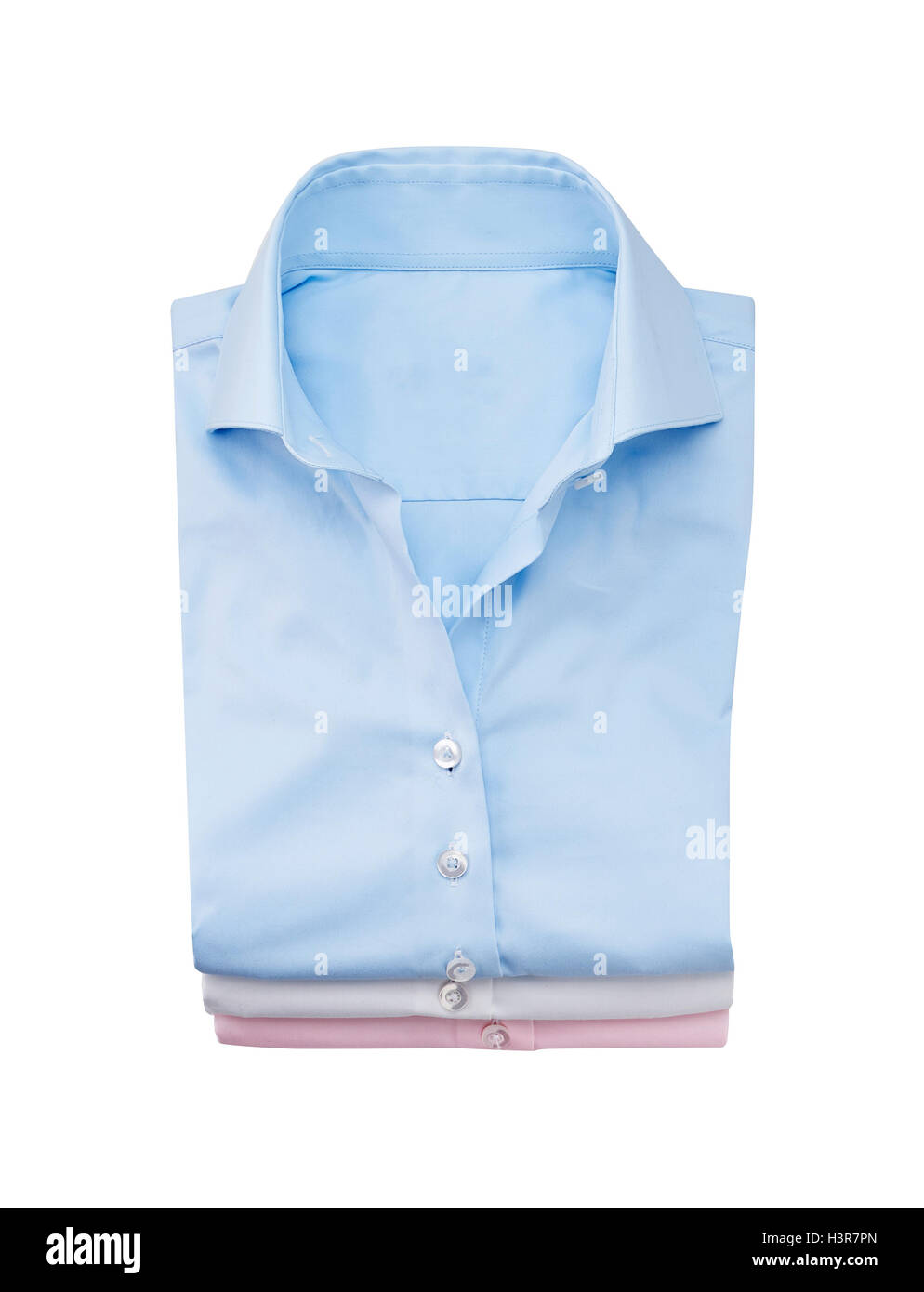 blue Shirt folded flat, isolated on white.with clipping path - Stock Image