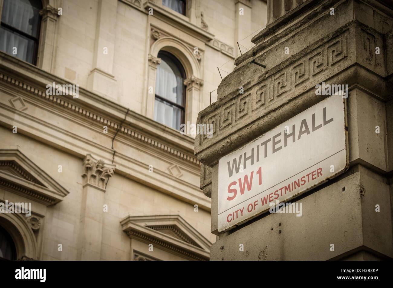 Whitehall SW1 street sign. - Stock Image