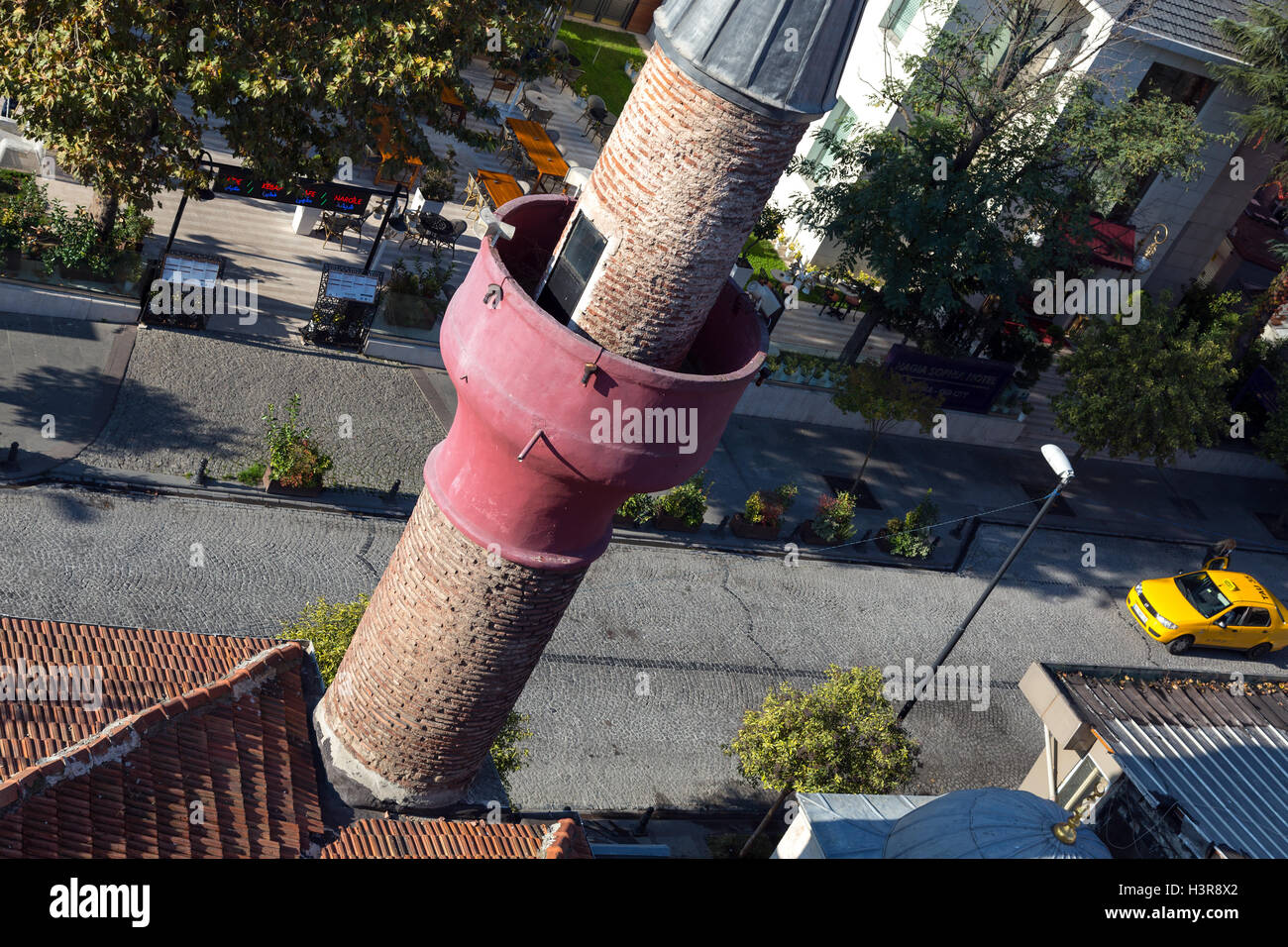 Top View of small Istanbul Street with Islamic Minaret - Stock Image