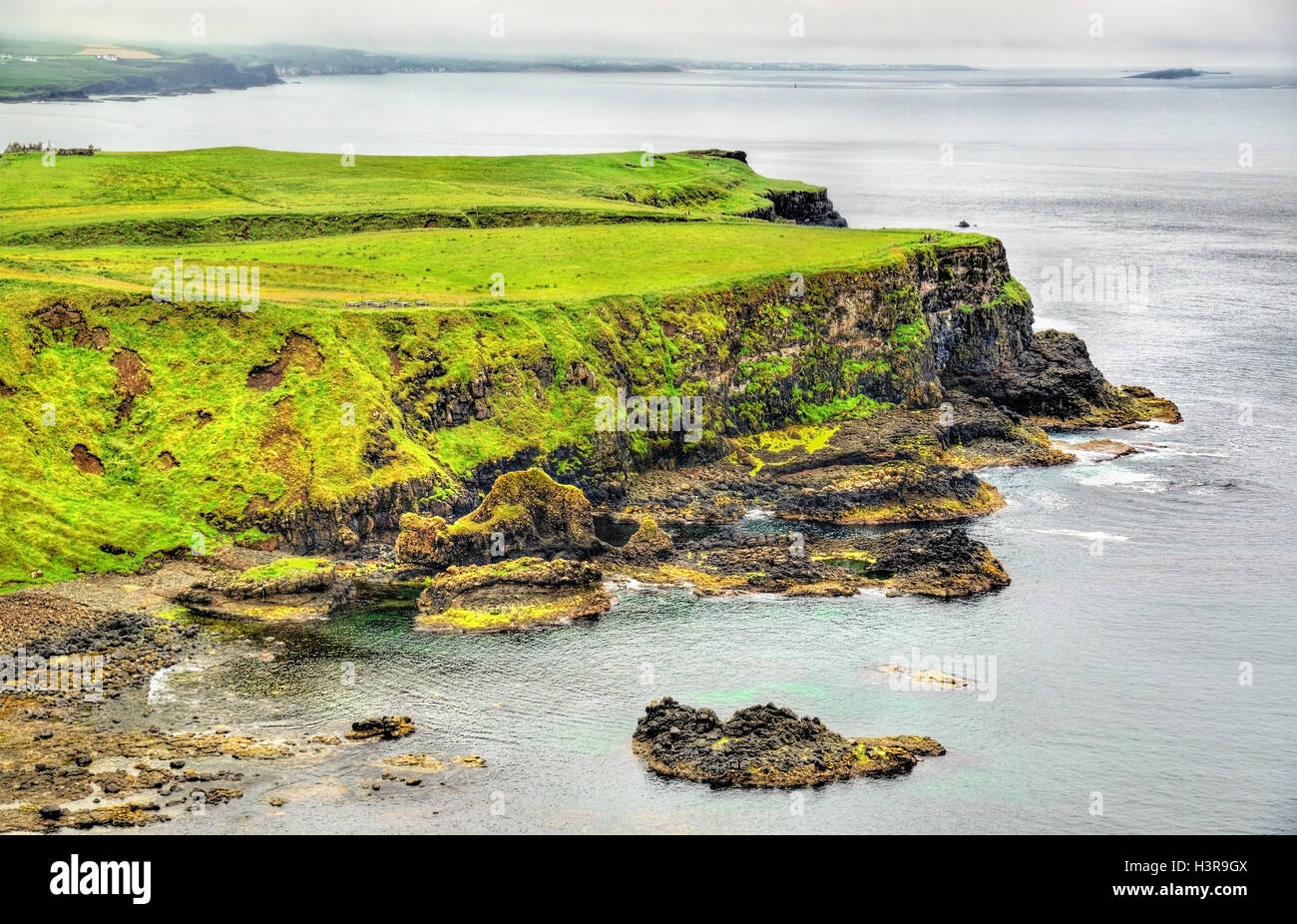 Rugged coastline of Ireland island near Ballintoy - Stock Image