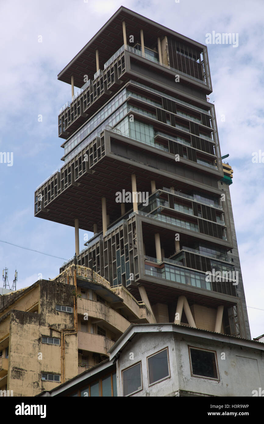 Antilia is the most expensive private home in the world - Stock Image