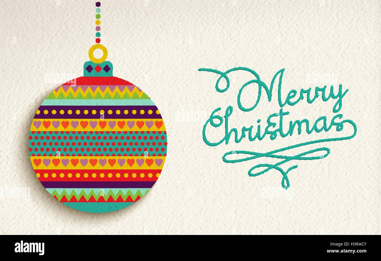 Merry Christmas Greeting Card Design Holiday Ornament Bauble With