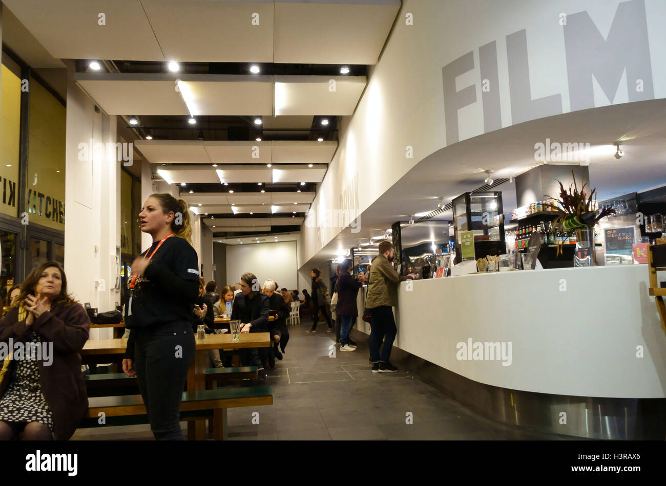 Bar and cafe in Hackney Picturehouse, East London - Stock Image