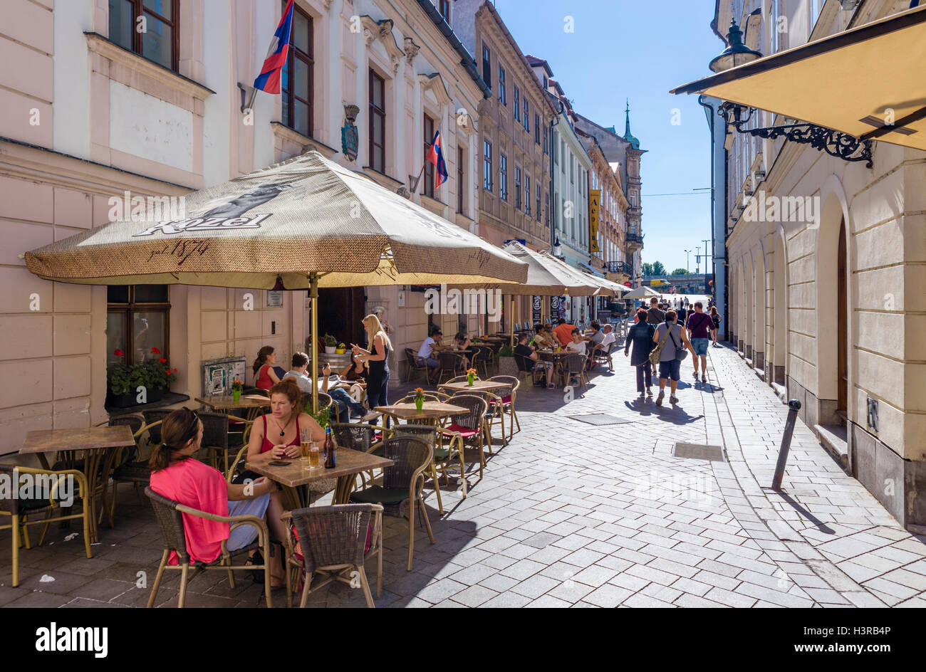 Cafes and bars on Panská  in the old town, Bratislava, Slovakia - Stock Image