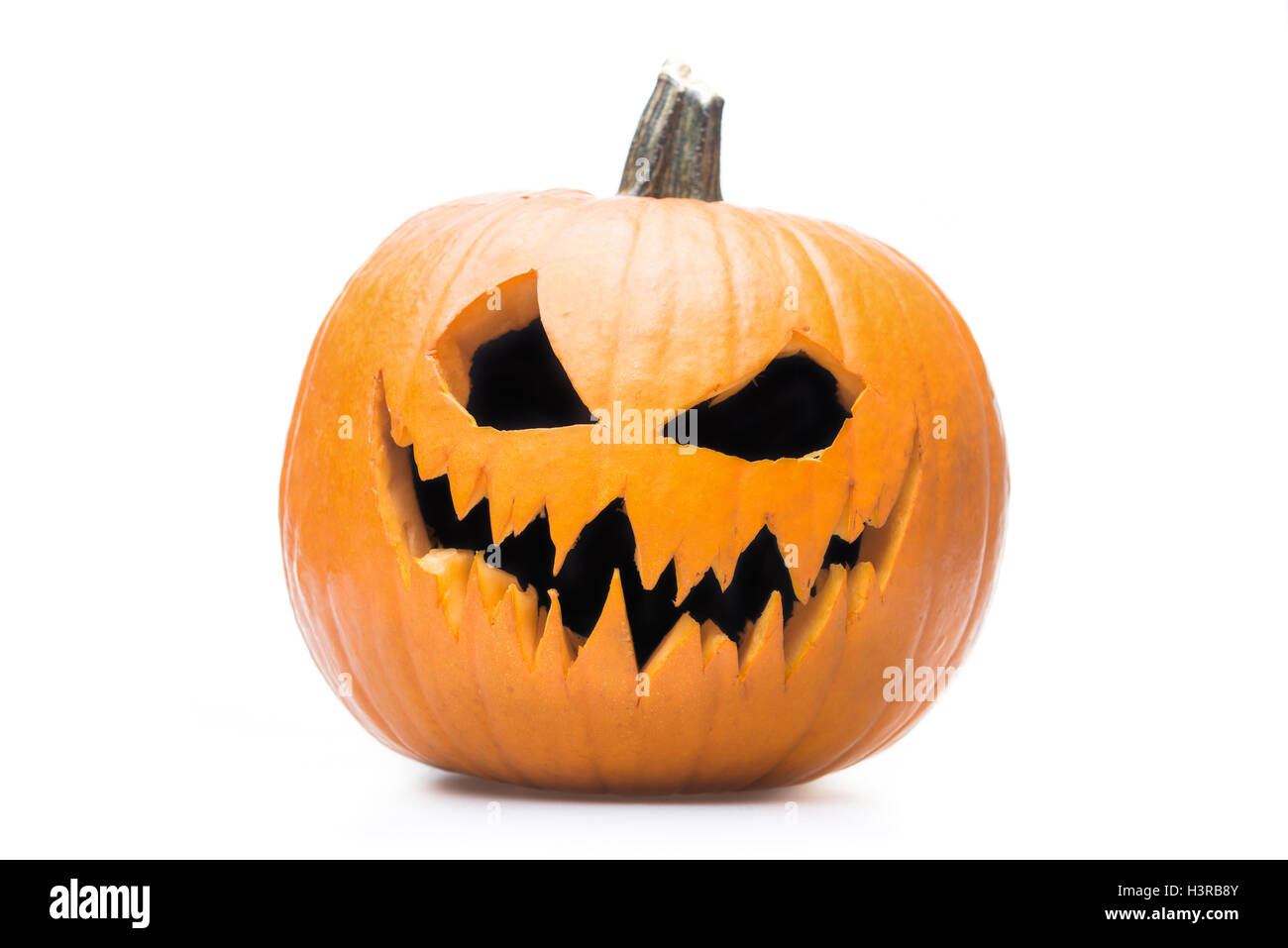 Halloween pumpkin's grin on white isolated background - Stock Image