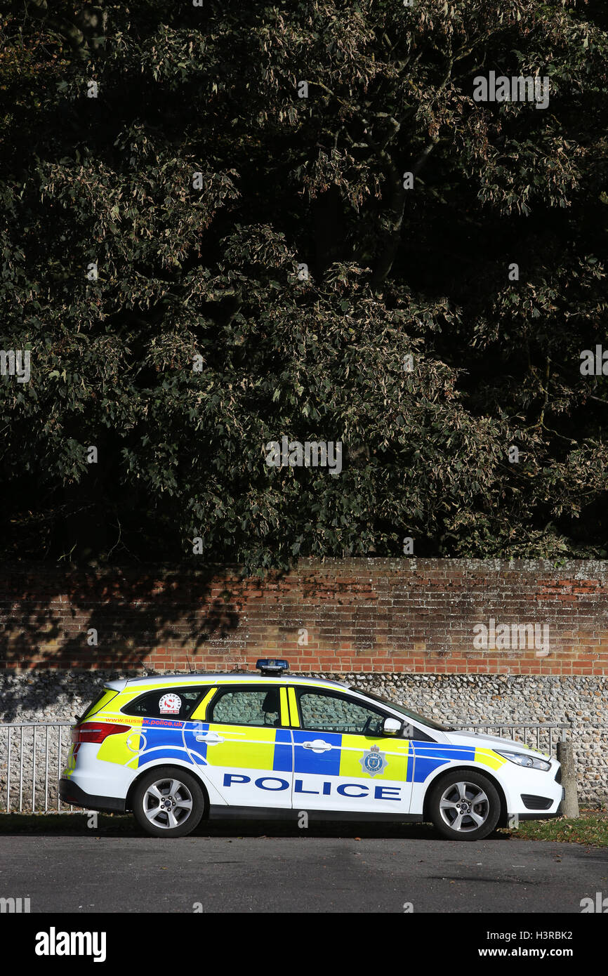 General view of a police car parked in Bognor Regis, West Sussex, UK. Stock Photo