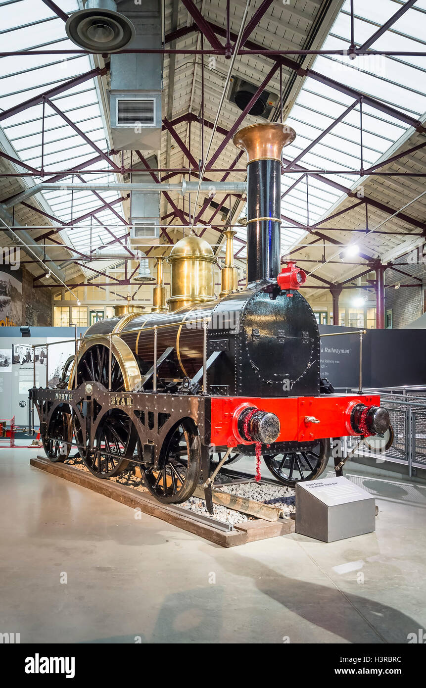 Replica of an important historic broad gauge steam locomotive NORTH STAR  built in 1923 now in Swindon steam museum - Stock Image