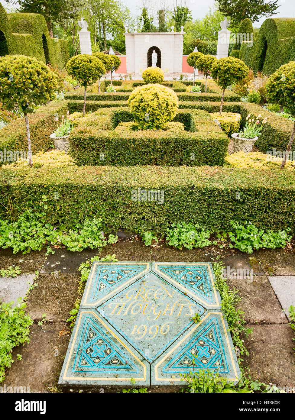 Ornamental dedication Green Thoughts in Laskett garden Herefordshire UK - Stock Image