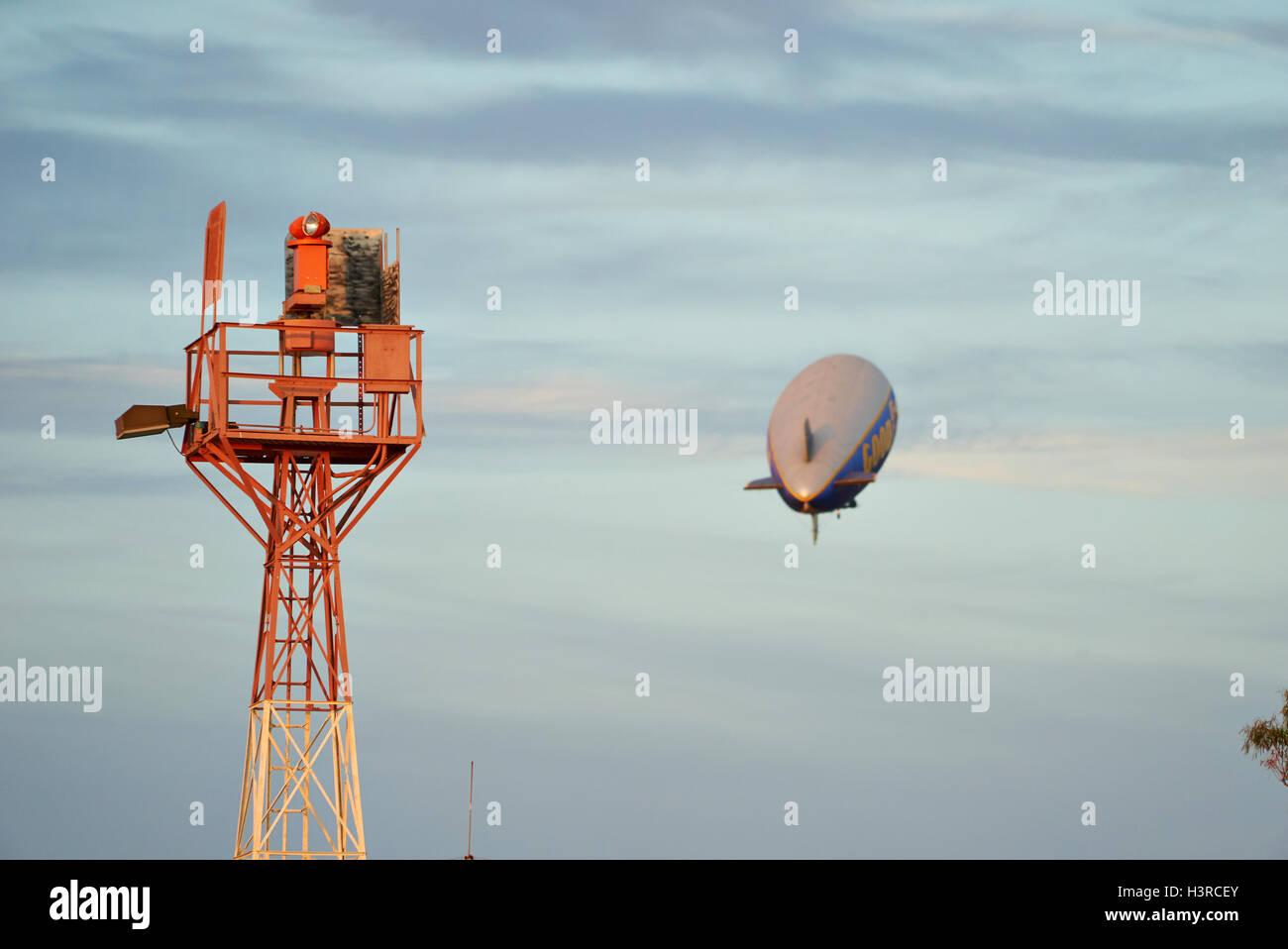 SANTA MONICA, CALIFORNIA USA - OCT 07, 2016: The Good Year blimp Zeppelin flies over airport - Stock Image